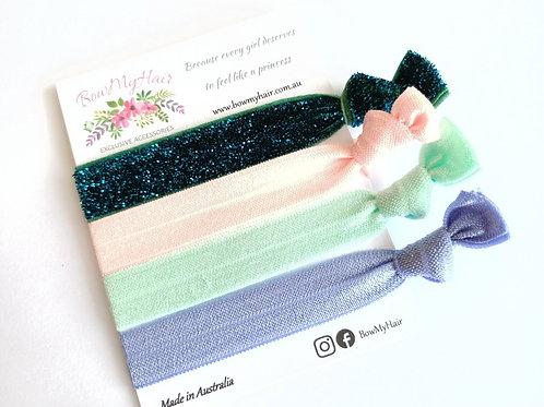 Hair Ties - Glitter Green / Pastels