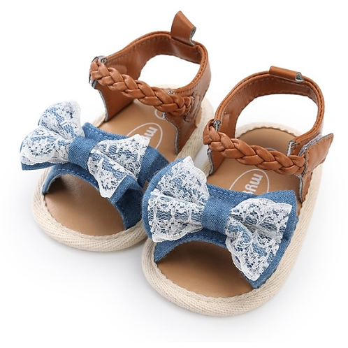 Denim & Lace Bow Soft Sole Baby & Toddler Sandals