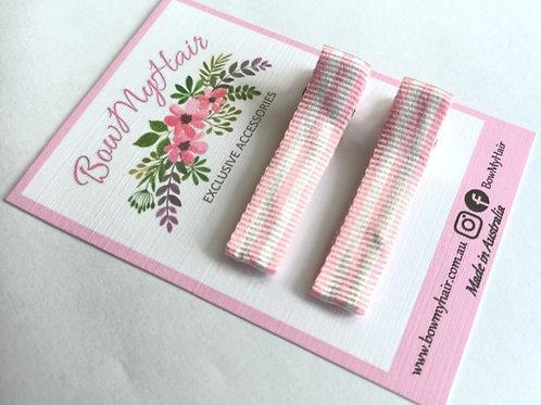 Pink Candy Stripes Pattern Clips