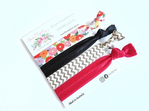 Hair Ties - Flowers / Black / Red