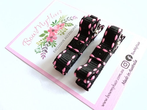 Pink/BlackStitch Clips