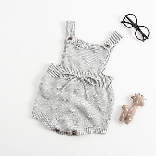 Grey Knit Dungaree-Style Romper
