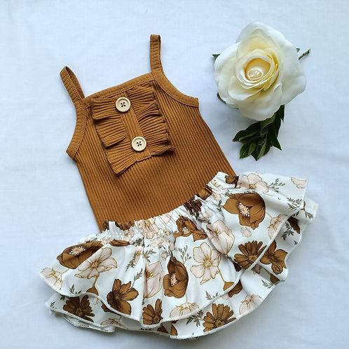Floral Mustard Romper & Skirt set