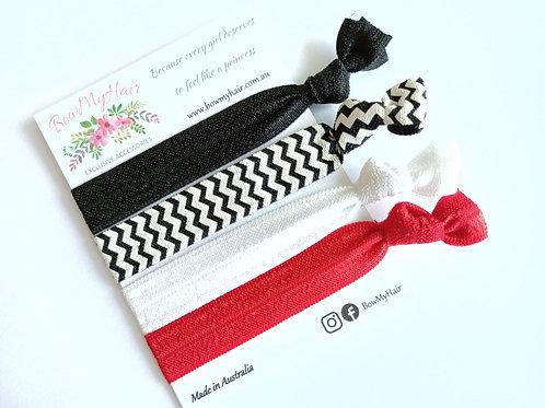 Hair Ties - Black / Red / White