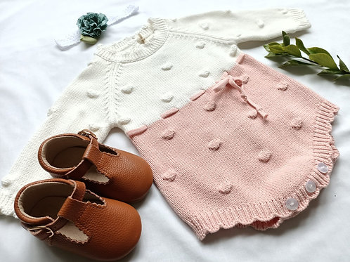 Charlotte Knit Coming Home Romper in Pink or Grey