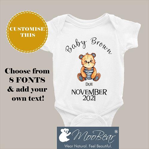 Custom DUE DATE Tiger Announcement Bodysuit