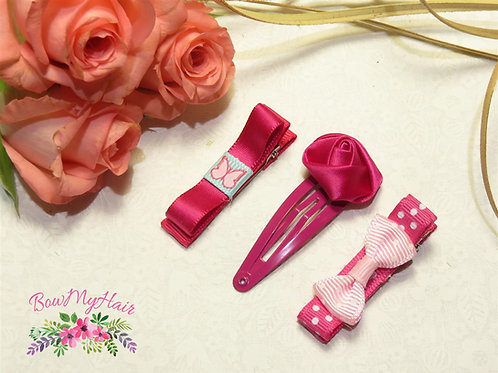 Pink Hair Clips Variety Bundle