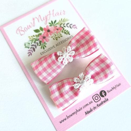 Pink Gingham Daisy Trim Hair Clips