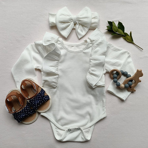 Fabulous Long Sleeve Ruffle Romper with matching bow