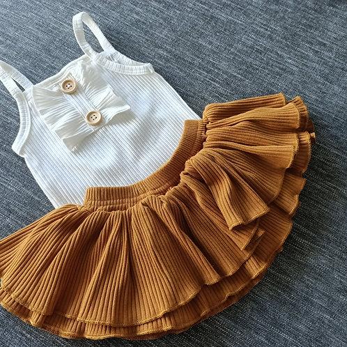 Super Soft Ribbed Cotton White Romper & Mustard Skirt set