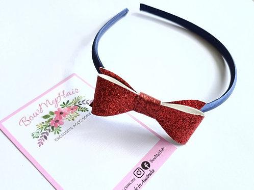 Ruby Red Glitter Bow Headband