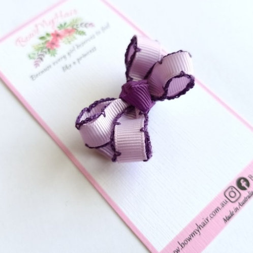 Purple Trim Tiny Bow