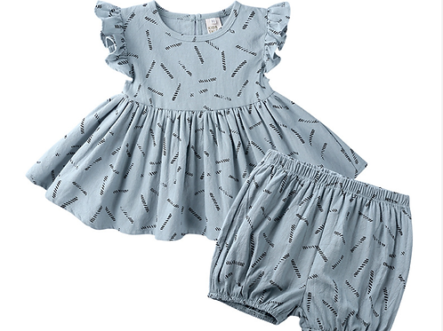 Aqua Stone Summer Breeze Ruffle Romper Top and Skirt Set