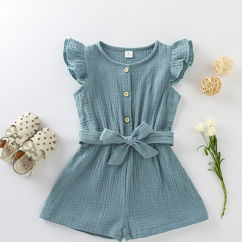 Busy Playing Natural Muslin jumpsuit available in Aqua