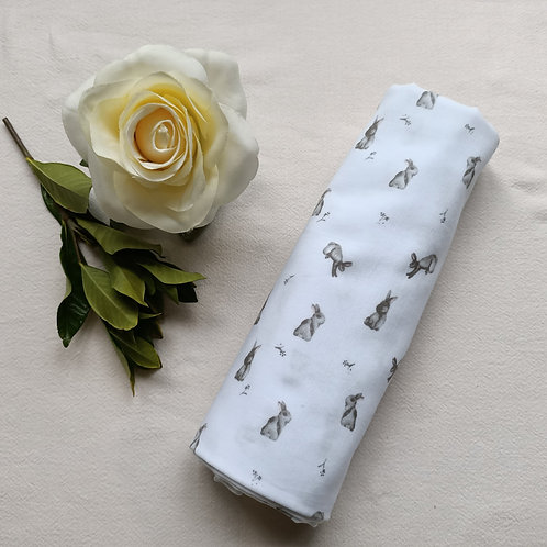 Snuggly Soft Double-layer Muslin Bunny Print Swaddle Blanket