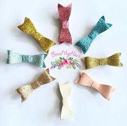 Hair clips glitter mini bows pink blue g