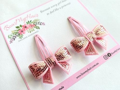 Pink Sequins Ribbon Snap Clips
