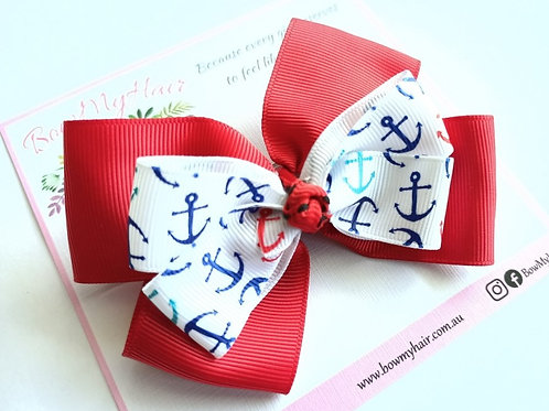 Red with Blue Anchors Double Boutique Bow