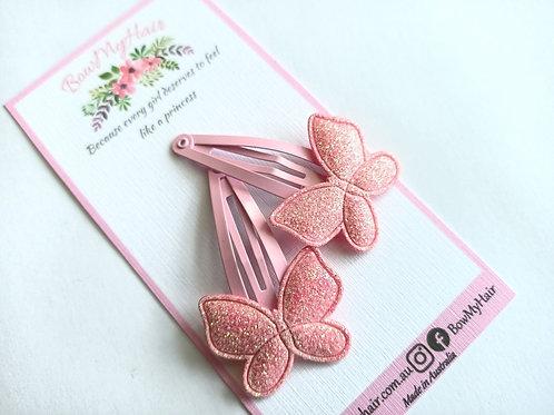 Pink Butterflies Snap Clips