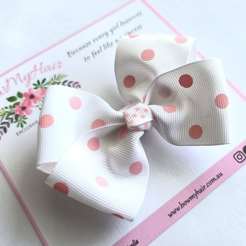 White with Pink Polka Dots Boutique Bow