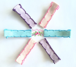 Hair clips stitch edge cover pink purple