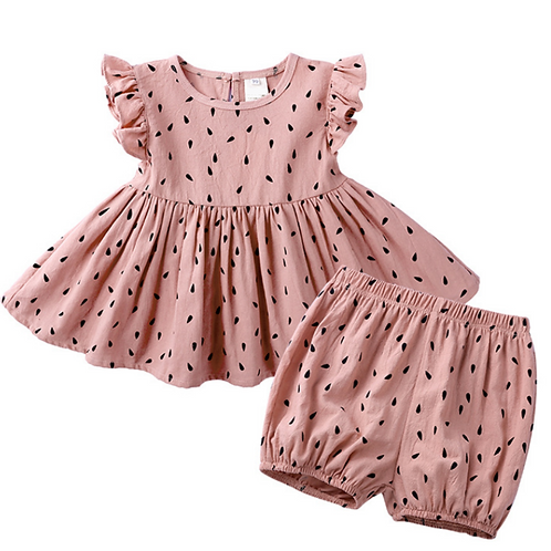 Old Rose Summer Breeze Ruffle Romper Top and Skirt Set