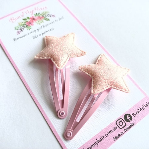 Baby Pink Star Snap Clips