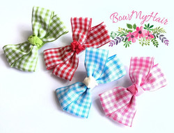 Gingham mini bows green red blue pink ch