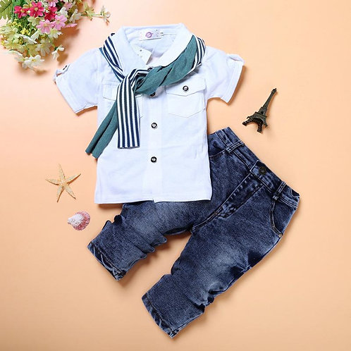 Rough and Tumble Boys Shirt and Jeans Set with matching scarf