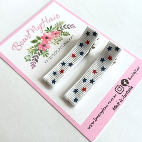 Blue and Red Stars Pattern Clips
