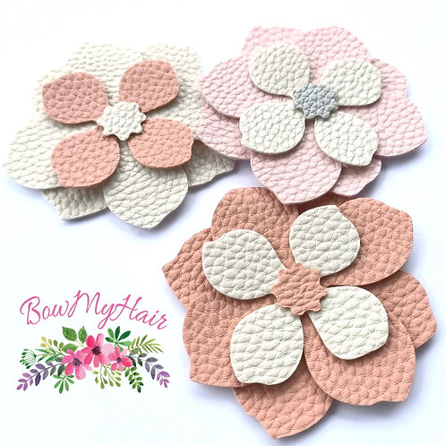 Faux leather Floral hair clips