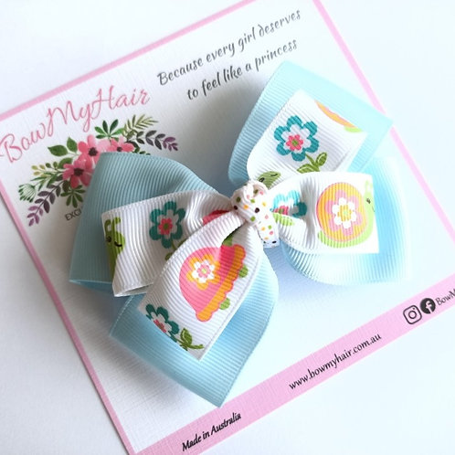 Turtle and Flowers Double Boutique Bow