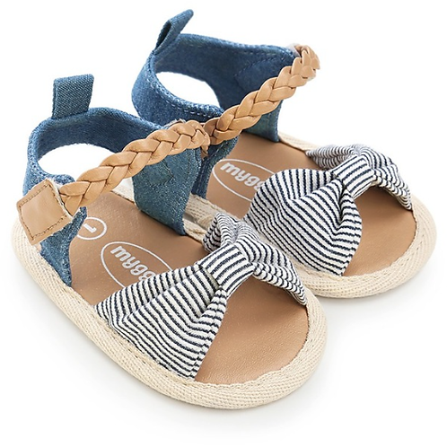 Canvas Stripe Bow Soft Sole Baby & Toddler Sandals
