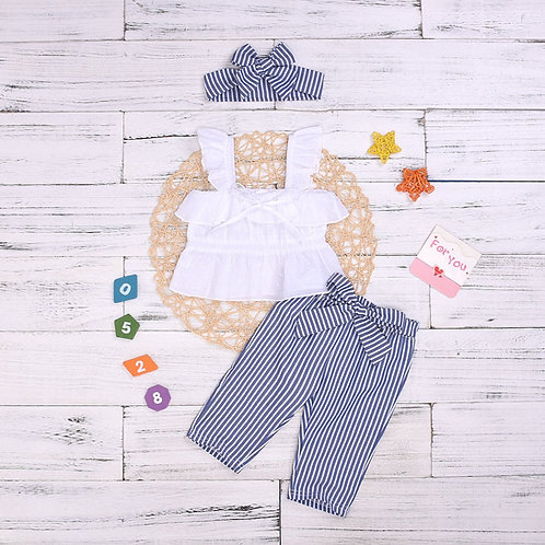 Pinstripe Fashionista top and pants set with matching headband