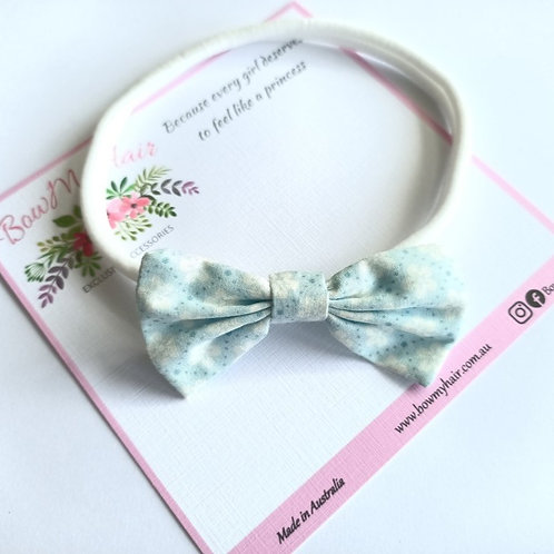 Light Blue Fabric Bow Headband