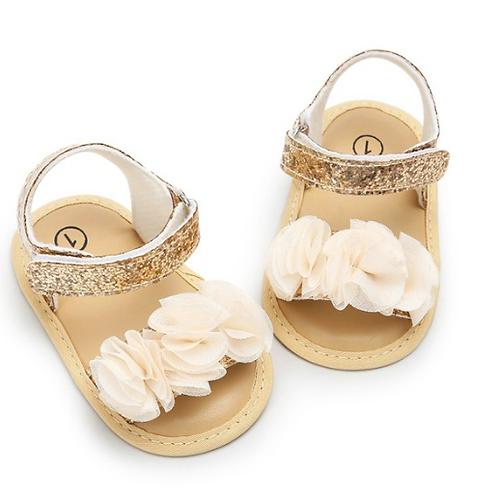 Golden Glitter & Flower Soft Sole Baby & Toddler Sandals