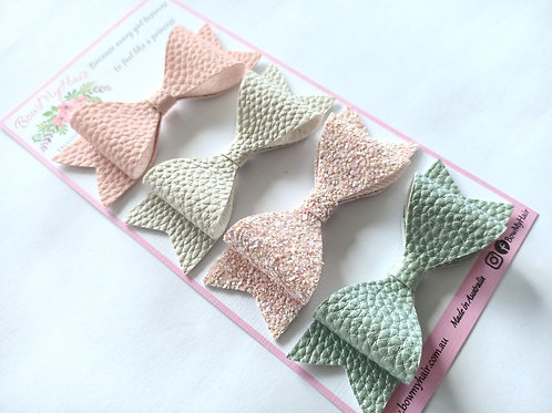 Magnificent Pastel leather bows with chunky glitter