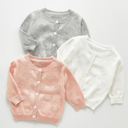 Sweetheart Cardigan in White, Pink or Grey