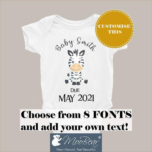 Custom DUE DATE Zebra Announcement Bodysuit