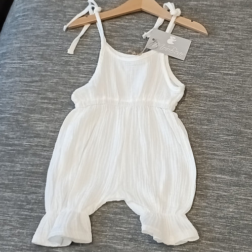 Snuggly Soft White Muslin strap jumpsuit