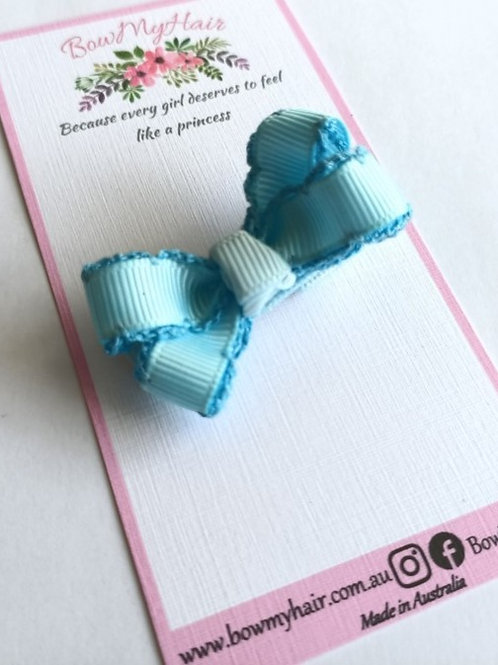 Baby Blue Trim Tiny Bow