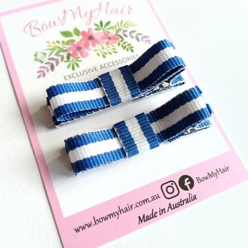 Blue / White Stripe Hair Clips