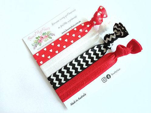 Hair Ties - White Hearts / Red / Black