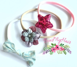 Baby head band soft stretchy pink blue b