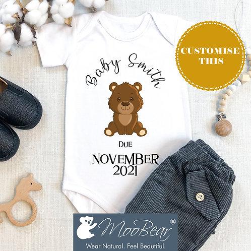Custom DUE DATE Bear Announcement Bodysuit