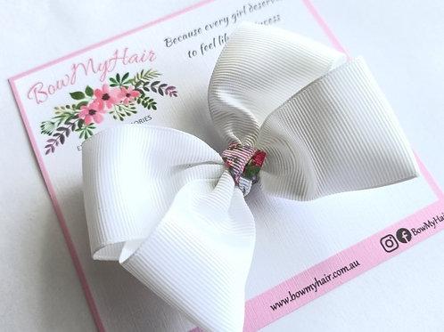 Crisp White with Flower Trim Boutique Bow