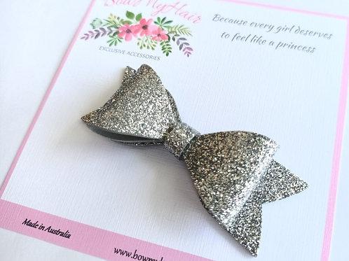 Silver Glitter Hair Bow