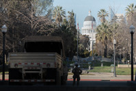 The California National Guard arrives in Sacramento prior to Inauguration Day.