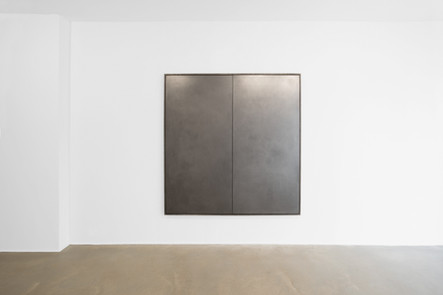 Untitled (Agathaidas & Phalanthus), 2017, polished graphite on maple panels in oak frame, 160 x 160 x 4 cm, private collection Ghent Belgium.