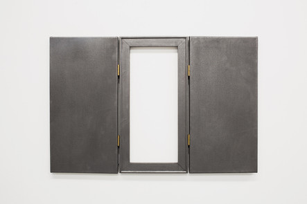 Untitled (Bob, James, River), 2018, brass, canvas, graphite, timber, 77 x 50 x 2 cmprivate collection, Brighton UK